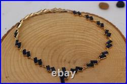 925 Sterling Silver Handmade Sapphire Turkish Ring Earring, Bracelet, Pendant Set