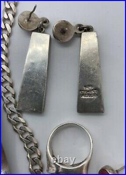 925 Sterling Silver Jewelry Lot Necklace Bracelet Earrings Ring Pendants Mexico