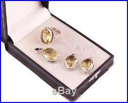 925 Sterling Silver Natural Lemon Quartz stone Pendant Ring Earrings Jewelry set