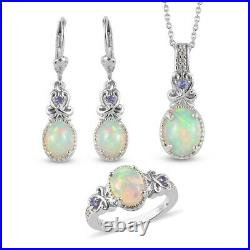 925 Sterling Silver Opal Ring Size 8 Earrings Necklace Pendant 20 Set Ct 4.2