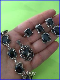 925 Sterling Silver and Garnet Set of Pendant, Earrings, Bracelet and Ring, appr