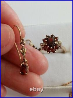 9Kt Gold Natural Garnet Ring, Earrings and Pendant Set