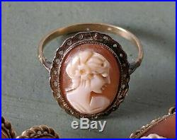 9ct Gold & Carved Shell Cameo Set Ring, Pendant & Earrings Vintage 7.2 grams