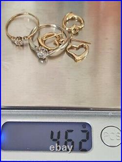 9ct Gold Joblot Diamond Rings Earrings Pendant 375 Not Scrap 4.62g
