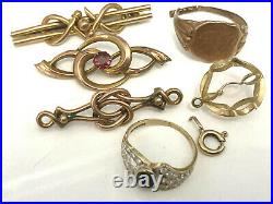 9ct Gold Rings, Pendant, Brooches 13.7g