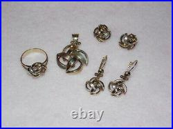 9ct Yellow Gold Windmill bundle pendant ring and earrings matching
