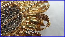 A Brooch/ Pendant, Earrings, & Ring In Sapphire, Diamonds & 18k Gold Signed