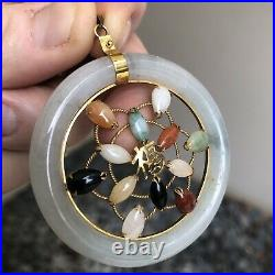 ASIAN ESTATE TRIO 14KT YELLOW GOLD JADE AGATE Etc. ROUND PENDANT RING & EARRINGS