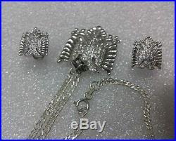 Albanian Kosova Silver 925 Set Eagle Pendant+ear Rings-albania Eagle Necklace
