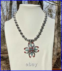 American West Naja Cross Turquoise Coral Pendant Necklace Ring Earrings Set
