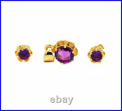 Amethyst Gold Plated 925 Sterling Silver Ring, Pendant & Earring Set Jewelry