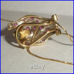 Antique 14k yellow gold panther ruby ring size 6.5 earrings pendant necklace set
