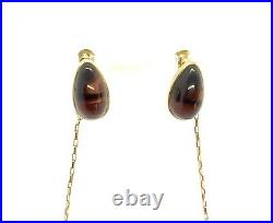 Antique 1920s Art Deco 9ct Rose Gold Tigers Eye Ring Pendant Earrings Set