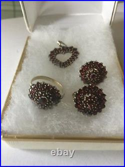 Antique Bohemian Red Garnet Ring Sz7, Earrings & Pendant Stunning
