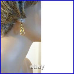 Antique Victorian Earrings 18k Gold Dangles Rings French Pendant Earrings (6597)