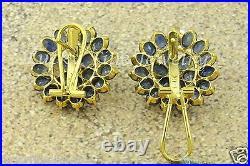 Antique Vintage 14.20 ct 14k Yellow Gold Blue Sapphire Ring Earring Pendant set