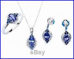 Art Deco 14kt Sapphire, Diamond & Tanzanite 3 piece Ring, Earring & Pendant Set