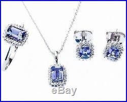 Art Deco Diamond & Tanzanite Earring, Ring & Pendant Set 14kt White Gold