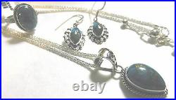 BALI Handmade Mojave Turquoise Ring (8), Earrings & Pendant withChain. 925SilverNWT