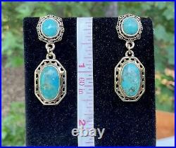 Barse Brass Turquoise Pendant, Ring Sz 6 & Earrings Set