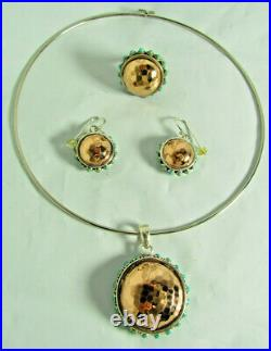 Barse Sterling Silver Copper Hammered Dome Turquoise Pendant Earrings Ring Set