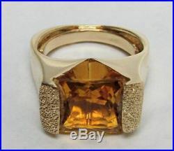 Beautiful 18k Gold & Smokey Topaz Ring Pendant & Earrings 4 Piece Suite