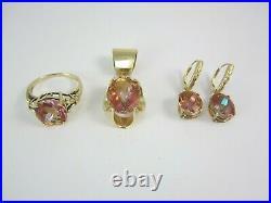 Beautiful Ladies 14k Yellow Gold Mystic Topaz Pendant, Ring & Earring Set 14.1g