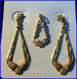 Black Hills Gold Coleman LEAF 4g Dangle Earrings Pendant 10k/12k Gold QVC $400