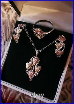 Black Hills Sterling Silver 12k Rose Yellow Gold Pendant Earrings Ring Set