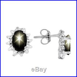 Black Star Sapphire & Diamond Pendant, Earrings & Ring in Sterling Silver. 925