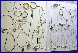 Bulk lot silver jewellery 30 necklaces pendants + earring ring anklet bracelets