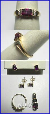 C1052 Estate 14K YG Green Purple Pink Tourmaline Ring Pendant Earrings Set