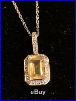 CITRINE AND DIAMOND RING PENDANT EARRINGS SET 10k White Gold