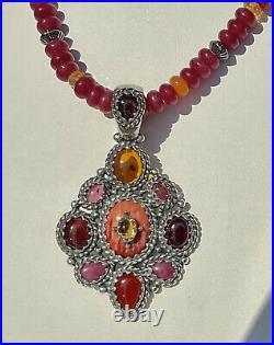 Carolyn Pollack Pink Orange Cuff Ring Sz 6 Pendant Earrings Stone Necklace Set