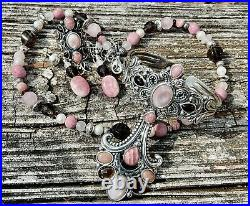 Carolyn Pollack Silver Pink Rhodonite Cuff Ring Pendant Necklace Earrings Set