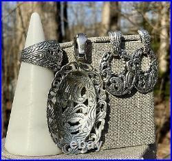 Carolyn Pollack Sterling Silver Rope Scrolls Pendant Enhancer Ring Earrings Set