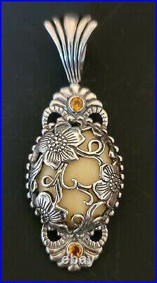Carolyn Pollack Sterling Silver Yellow Jasper Floral Pendant, Ring, Earring Set