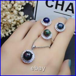 Certified Color Black Opal S925 Silver Pendant Ring Earrings Set Women Gift