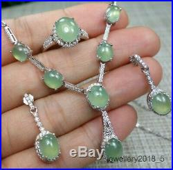 Certified Icy 100% Natural A jadeite jade Pendant+Ring+Earring S925Silver