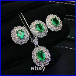 Certified Natural Colombian Emerald Ring Pendant Earrings 925 Silver Set Gifts