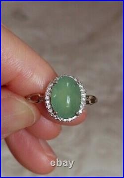 Certified Natural Grade A Icy Green Jadeite Jade Pendant+Ring+Earring Set