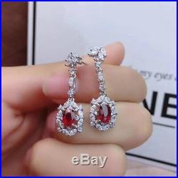 Certified Natural Ruby 925 Silver Sterling Pendant Ring Earrings Bracelet Set