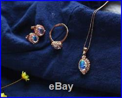 Certified Sri Lanka Moonstone S925 Silver Pendant Ring Earrings Set+Chain Gifts