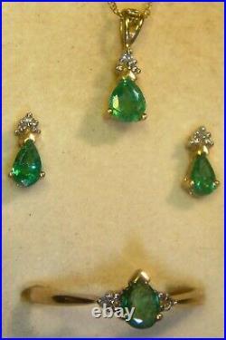 Columbian Emerald Set Ring size 7 1/4, pendant, earrings, chain 10kt gold #16