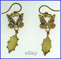 Dangling Oval Fine Opal & 0.62 Ct Diamond Halo Pendant Earrings 14K Gold/Silver