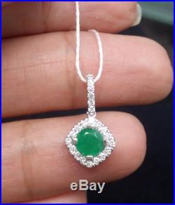 Deal 0.70 CTW 0.50CT Genuine Emerald & 0.20CT Diamond Ladies Pendant 14K Gold