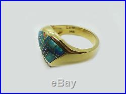 Designer 14k Gold Opal Mosaic & Diamond Pendant, Ring, Earrings Set, Signed
