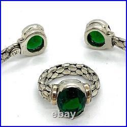 Designer Set Of Sterling 925 18k Gold Green Stone Bracelet Ring Earrings Pendant