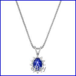 Diamond & Blue Star Sapphire Set Ring, Earring & Pendant Necklace 14K Yellow