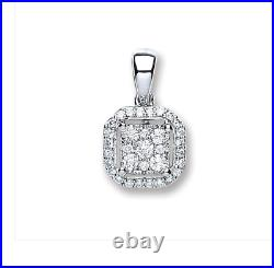Diamond Square Cut Pendant and Earring Set Halo Design in 18ct White Gold